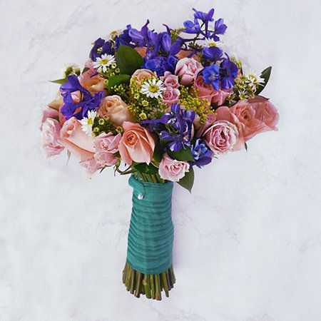 Pink Rose and Blue Delphinium Wedding Flowers