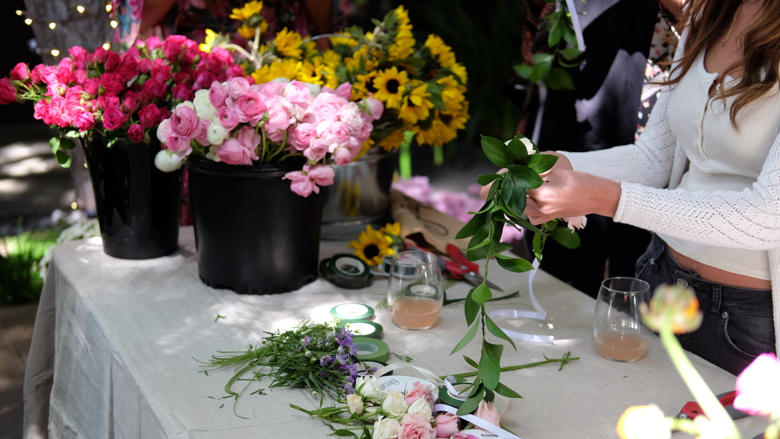 Florist Preparing Flowers For A Vase