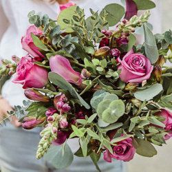 Pink Rose and Eucalyptus Arrangement