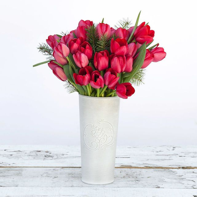 red tulips with fir accents 4