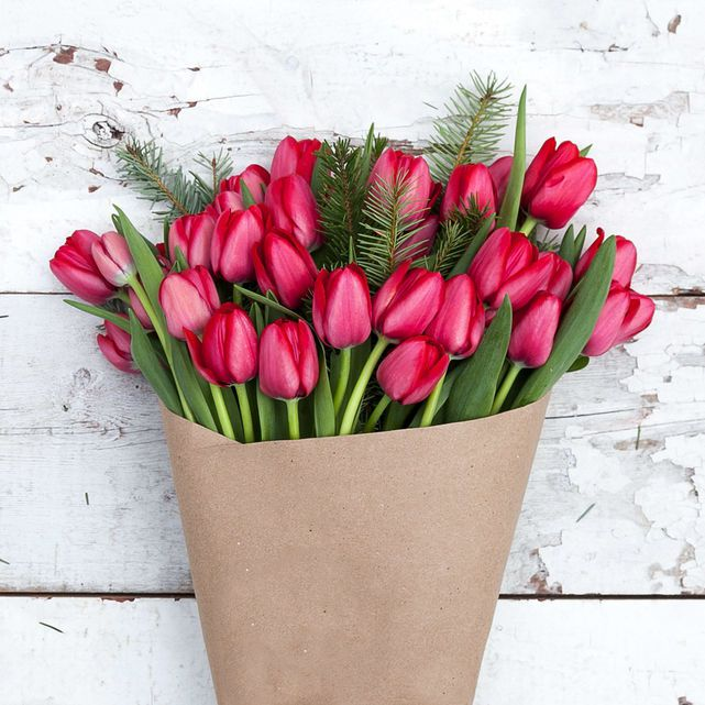 red tulips with fir accents 5