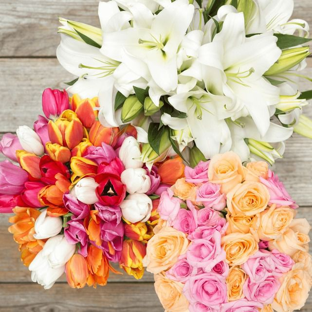 Bouquet of Mixed Flowers in a Range of Colors Made By a Whole Foods Market Florist