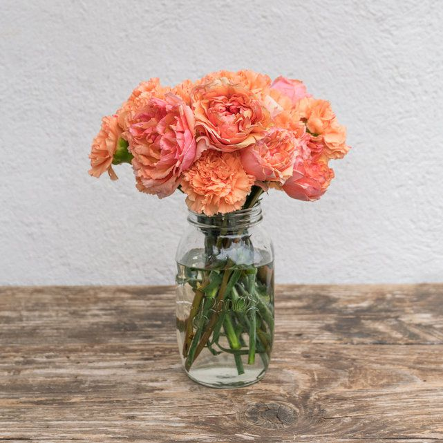 orange carnation and pink-orange rose arrangement 4