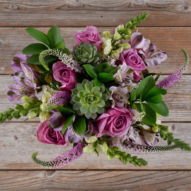 Mixed Bouquet Of Lavender Roses And Succulents 4