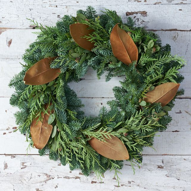 fresh live cedar wreath with pine and magnolia leaf accents 1