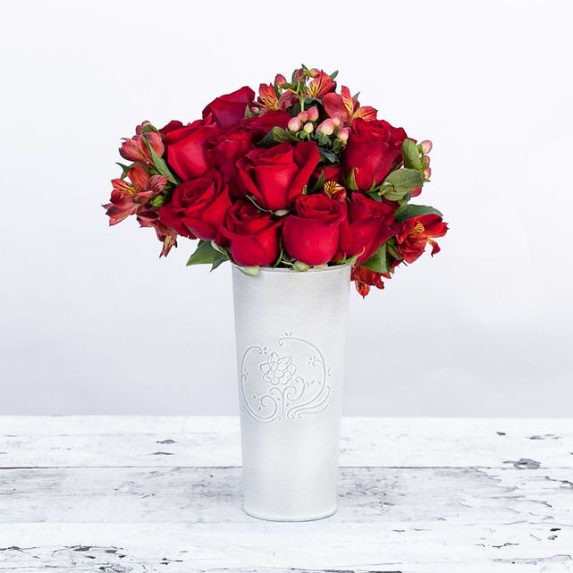 red rose, alstroemeria and berry bouquet 4