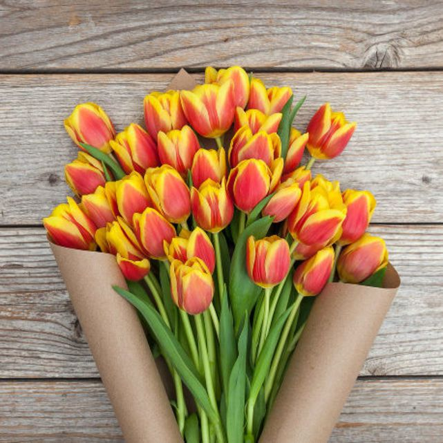 yellow and red striped tulip bouquet 5