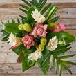 white ginger and lime loofah exotic bouquet with pink accents 1
