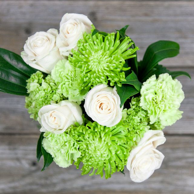 white roses with green hydrangeas and mums 7