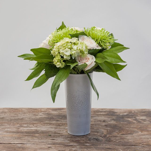 white roses with green hydrangeas and mums 6