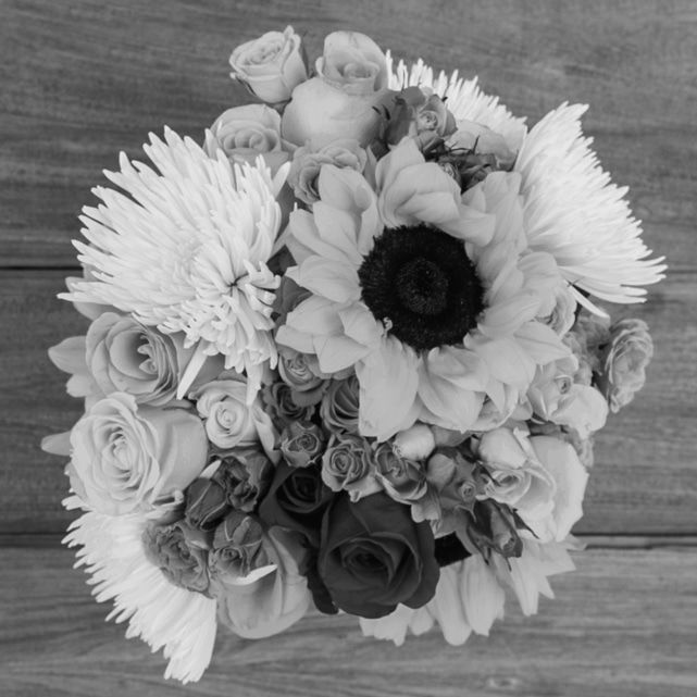 white chrysanthemums, roses and aster with pinecones and greenery accents 2