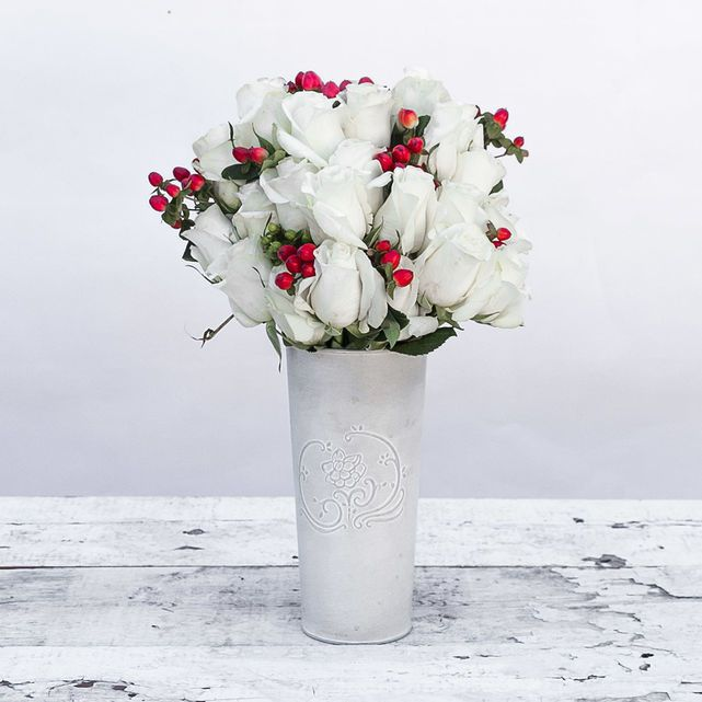 White Roses with Red and Green Hypericum Berry Accents 4