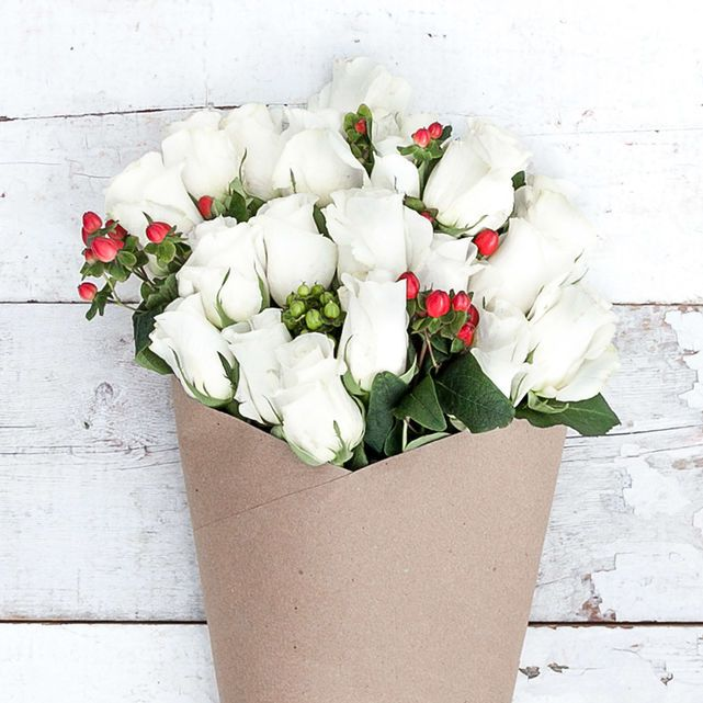 White Roses with Red and Green Hypericum Berry Accents 5