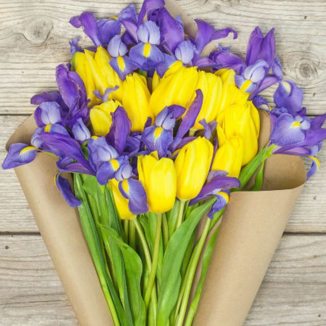 yellow tulips and purple iris arrangement 5